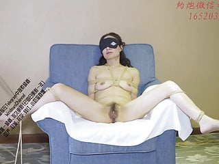 Chinese BDSM, mature wife gets bondage orgasm and cum inside